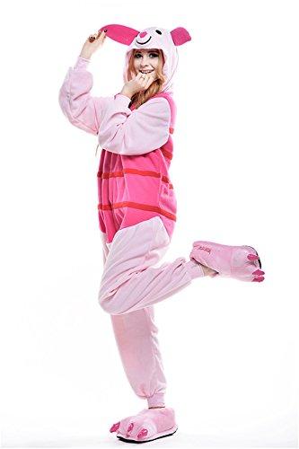 VU Roul Unisex-Erwachsene Kigurumi Einteiler Cosplay Kostüm Ferkel Nachtwäsche Kleid Gr. Medium, Piglet