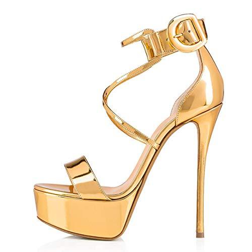 Onlymaker Frauen Sandaletten Open Toe Plateau Glitzer Metallic Riemchensandalen Schnalle Stiletto High Heels Gold 38 EU Gold Stiletto Heel