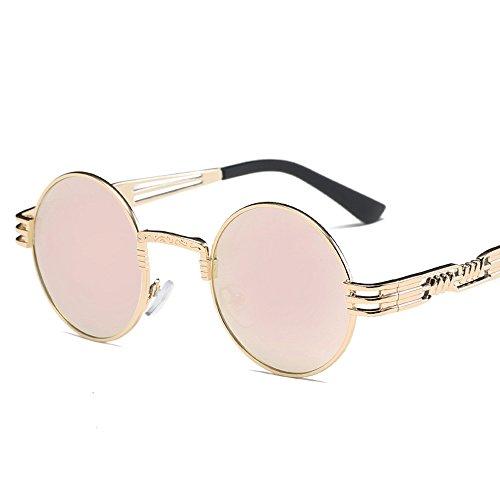 HCFKJ Sonnenbrillen für Frauen Männer Retro Runde Brille Unisex Mode Aviator Mirror Lens Travel Sonnenbrille G