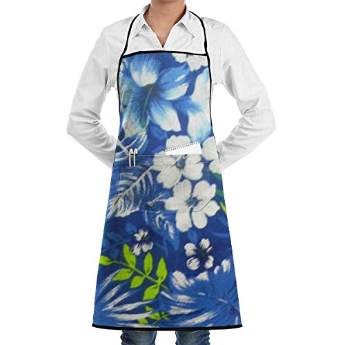 Royal Blue Fan (Hawaiian Royal Blue Adjustable Kitchen Chef Apron with Pocket and Extra Long Ties,Cooking Kitchen Aprons for Women Men Chef Chef Aprons)