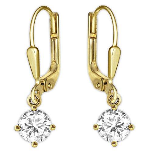 Clever Schmuck Goldene kleine Damen Ohrringe als Ohrhänger 20 mm mit Mini Zirkonia in weiß 5 mm glänzend 333 GOLD 8 KARAT mit Etui