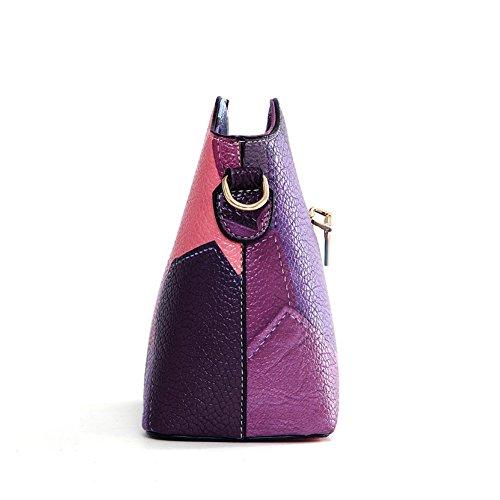 Moonsister Mode Damen Mädchen Echts Leder Umhängetasche, Leichtbau Klein Mini Bunt Broschierung Schultertasche Schale Tasche Partei Tasche, Lila Lila