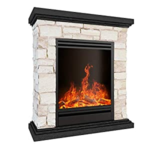 MODERN LIFE Electric Fireplace Suite Wood Top and Brick Surround & Log Burning Vivid Flame Effect 1800W Electric Fireplace Stove with Overheat Protection Thermostat
