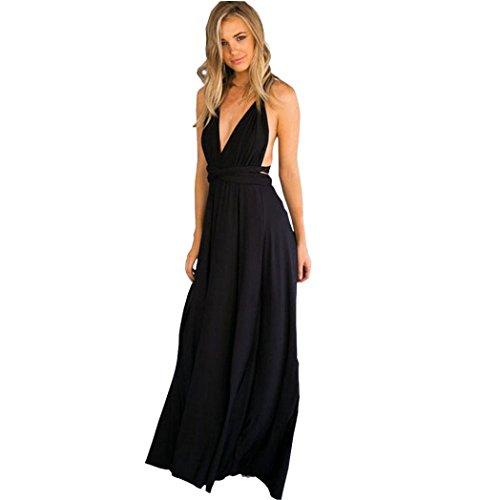 kleid damen Kolylong ® Frauen elegante V-Ausschnitt Bandage lange Kleid Party Kleid Sommer backless Strandkleid Abendkleid Sommerkleid Schwarz