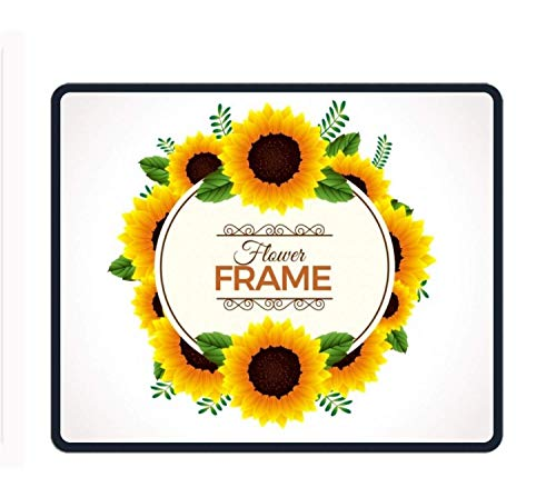 Yale Frames (Sunflower Frame Background Mouse Pad Office Space Decor Home Office Computer Accessories Mousepads Watercolor Vintage Design)