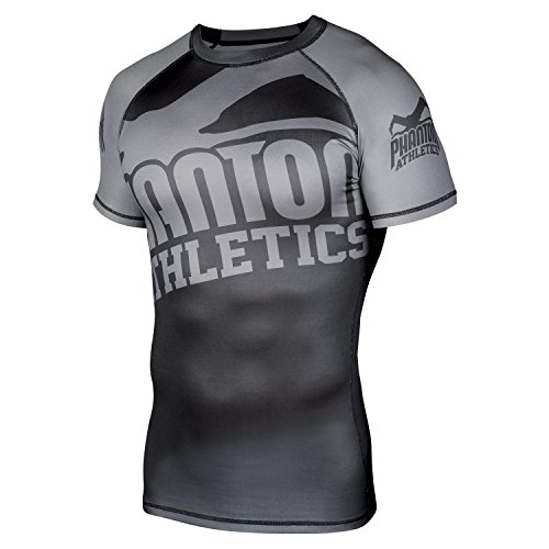 "Phantom Athletics Rashguard ""Supporter 2.0"" SS - Black/Grey - Funktionsshirt, BJJ MMA Compression Grappling Shirt kurzarm"