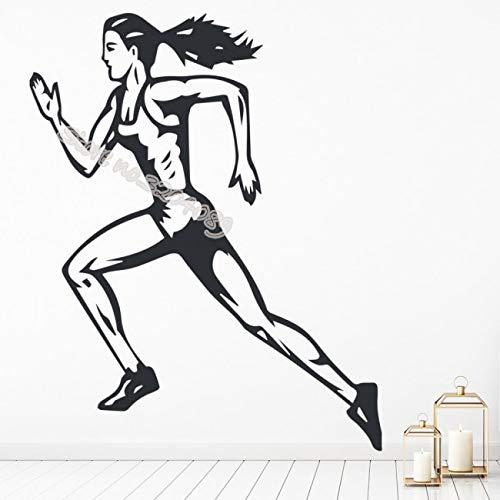 Weibliche Läufer Marathon Leichtathletik Wandaufkleber Perfekte Qualität Vinyl Laufen Jogging Aufkleber Sport mädchen Room Decor GYM wandbild 42X53CM