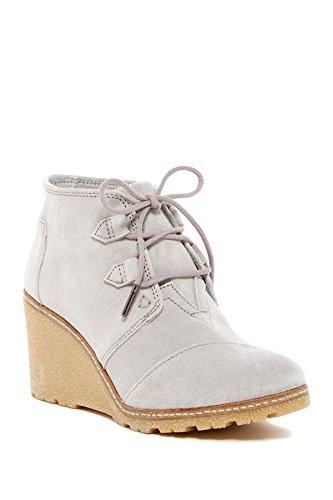 TOMS Damen Desert Wedge High Stiefel, Drizzle Grey Suede/Faux Crepe Wedge - Größe: 37.5 EU B(M) Mia Suede Wedges