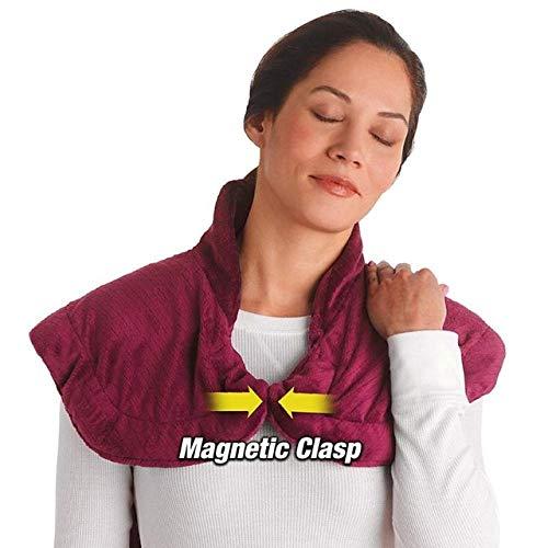 Elektrische Heizung Vibrating Schal, Aufladen Extra-Lange Massieren Wärme Wrap Haushalt Massager, Blaue Flanell Relief Wrap Neck Schulter Rückenmuskulatur Schmerzlinderung Pad,Red - Massieren, Wärme-pad