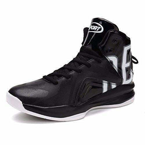 Chaussures De Basket-ball High Help Chaussures De Basket-ball En Automne Et En Hiver Ventilation Extérieure Amortisseur Anti-skid Wear Homme Noir Et Blanc