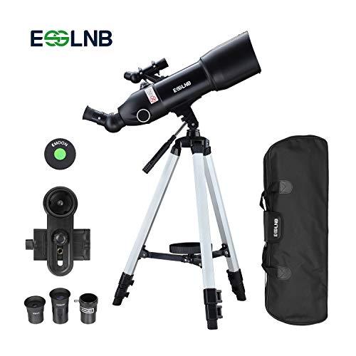 ESSLNB Refraktor Teleskop 80/400 Astronomisches Teleskop für Kinder Einsteiger und Amateur-Astronomen mit 10x Smartphone Adapter Stativ und Tasche