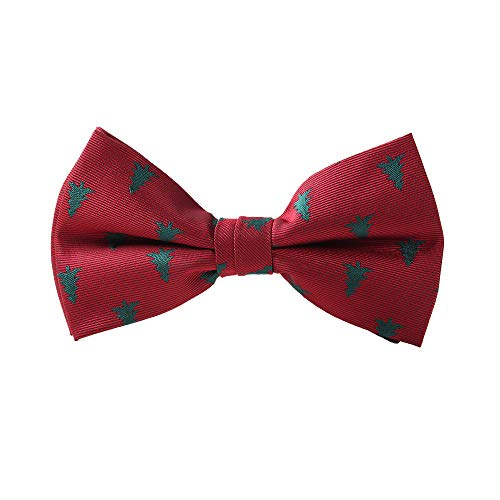 Ogquaton Herren-Fliege mit Schleife für Weihnachten, verstellbar, vorgeknotet, für Männer, Jungen, Rot