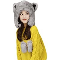 Damen Mädchen Wintermütze mit Ohrenschutz Cartoon Fliegermütze Kunstfellmütze Warm Schlupfmütze Outdoor Sport Schnee Hut für Winter