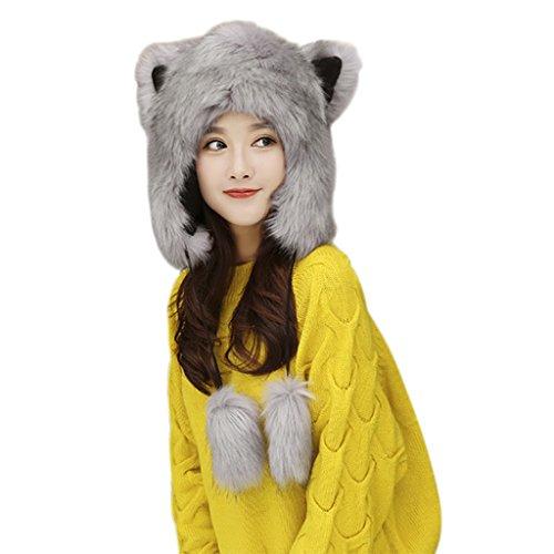 Cappello da donna con cappellino per orecchie cappello con visiera cappello invernale con soffici cappelli caldi con spago
