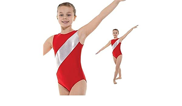 Girl/'s Gymnastic Leotard Gym 5 Red//Silver Leotard Tappers /& Pointers 4-12 yrs