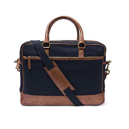 """DRAKENSBERG Kimberley Travel Briefcase,borse da viaggio e ventiquattrore, borsa a tracolla, grande borsa del computer portatile, 15 """", tela, pelle, verde oliva, marrone Blu marino"""