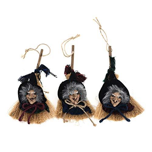 Healifty Halloween Anhänger Dekoration Halloween Besen Anhänger Strohhexe Besen Assistent Zubehör Tür Baumhaus Display - Assistenten Kostüm Kinder