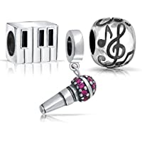 Bling Jewelry Sterling Microfono Piano G Clef Music Note Bead Set - Piano Clef Note
