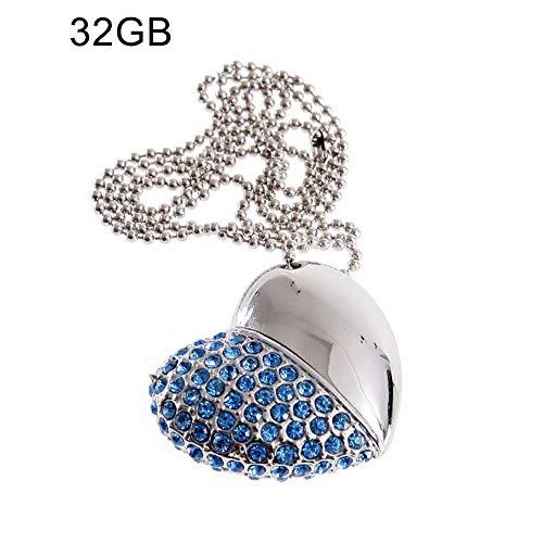 BeonJFx USB-Speicherstick (USB 2.0, U-Disk, Strasssteine, Herz-Halskette, 4/8/16/32/64G)