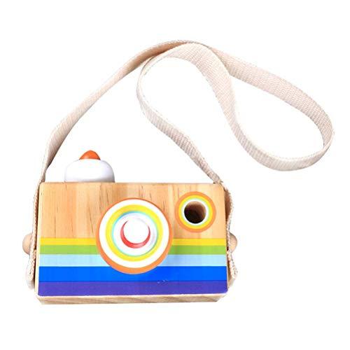 SWZY Kaleidoskop Kamera - Holz Regenbogen Kamera Spielzeug, Kaleidoskop Kamera Objektiv Pretend Play Spielzeug mit Seil Pädagogisches Spielzeug Kinder Kleinkinder - Regenbogen-kamera-objektiv