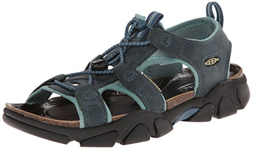 Keen Sarasota Damen Hiking Schuhe Trekking Sandale Outdoor wasserfest Leder, Schuhgröße:37.5;Farbe:blau