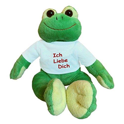 """Kuscheltier Frosch """"Paddy"""" bedruckt mit """"Ich Liebe Dich"""""""