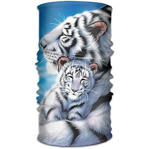 KDU Fashion Soft Sweatband,Weißes Tiger-Baby Und Mamma-Nahtlose Magische Multifunktionsbandana-Im Freienhauptschal-Verpackung Breathable Kopftuch Eine Größe