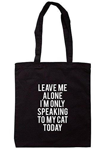 breadandbutterthreads Leave Me Alone parlo solo a mio cat oggi Borsa 37,5cm x 42cm con manici lunghi Black