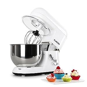 Klarstein TK1 Bella Bianca - Küchenmaschine, Rührmaschine, Knetmaschine, 1200 W, 1,6 PS, 5,2 Liter, planetarisches Rührsystem, 6-stufige Geschwindigkeit, Edelstahlschüssel, weiß