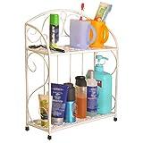 ZHANWEI Badezimmer Ablagen Duschkorb Badregal Multifunktion Lagerregal Bodenständig Punsch Frei Eisenkunst 2 Stufen, 2 Farben (Farbe : Weiß)