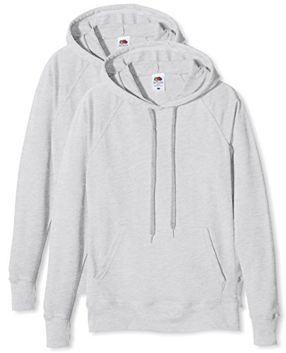 Fruit of the Loom Damen Ladies Lightweight Hooded Sweat Sweatshirt, Grau (Heather Grey), S Lightweight Hooded Pullover Sweatshirt