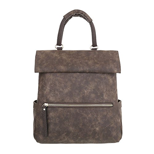 Piccolo Zaino Ital-design Da Donna In Similpelle Usata Ta-a916 Marrone Scuro