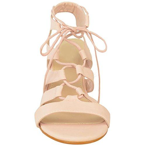 Donna Zeppe Con Cinghia Medio Sandali Tacco Alto Con Lacci Cut Out Scarpe Numeri Rosa Pastello Simil Pelle