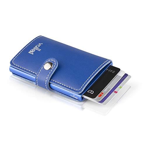 VALLET VALLET® - Premium Kreditkartenetui - echtes Leder - 5-8 Karten - RFID NFC Schutz - Moderne Mini-Geldbörse - Geldbeutel für Damen Herren - schönes Geschenk für Männer Frauen - blau