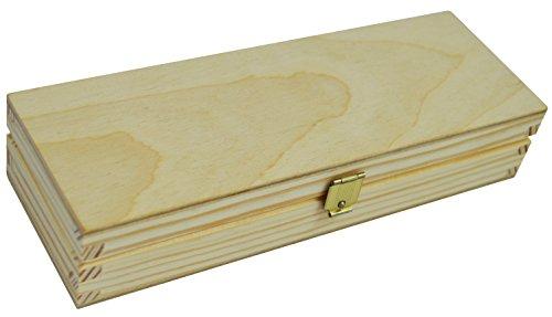 Unlackiert Holz Bleistift Fall Box Desktop Stationery Organizer Mittelmeer/P01 (Holz Bleistift Box,)