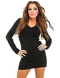 db9c81a41fd39b Donna maglia pullover lungo con cappuccio e scollo V. 421