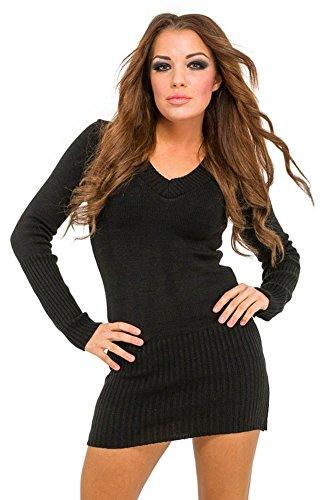 Glamour Empire. Donna maglia pullover lungo con cappuccio e scollo V. 421 (Nero, 40/42)