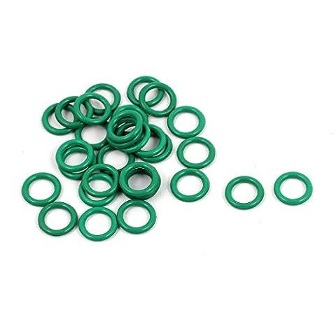 sourcingmap® 30pcs 6mm x 1mm FKM joints toriques en caoutchouc Anneau étanchéité résistant à chaleur verte passe-fils