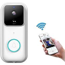 Sonnette Vidéo, Visiophone sans Fil HD 1080P avec Conversation Bidirectionnelle Vision, Nocturne et Grand Angle Rappel de Détection de Mouvement PIR App pour iOS, Android, Windows Connexion Wi-FI