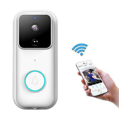 Video Türklingel Mit Kamera, Video Doorbell 1080P HD Wifi Funk Gegensprechfunktion, 170º Grad Weitwinkel Camera, PIR Bewegungsmelder Monitor, Nachtsicht, App für iOS, Android und Windows, Weiß