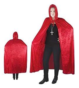 P'TIT Clown re16212 - Cape tissu velours avec capuche rouge 140 cm, adulte