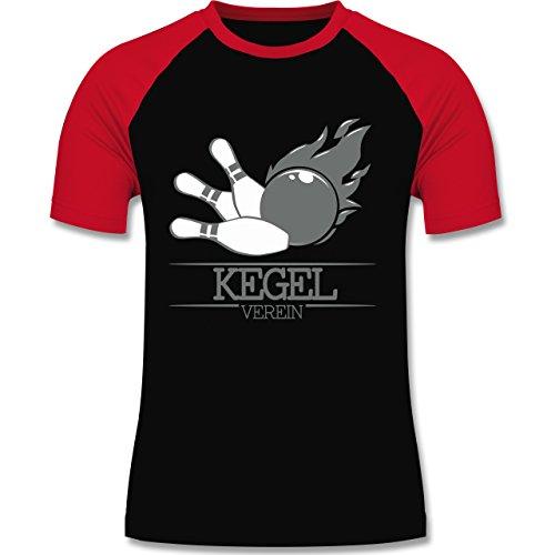Bowling & Kegeln - Kegel Verein Kugel Flamme - zweifarbiges Baseballshirt für Männer Schwarz/Rot