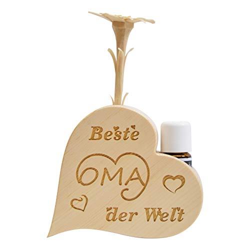 sagl.Tirol Set de parfums de pin en Forme de cœur avec pin sculpté à la Main Blanc précieux, Meilleure Grand-mère du Monde + Huile de pin Bio (10 ML)
