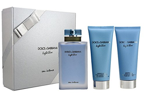 Dolce & Gabbana Light Blue Eau Intense Woman Geschenkset 100ml Eau de Parfum + 100ml Shower Gel + 100ml Body Lotion (Gabbana Blue Dolce Light Parfums)