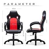 Gaming Stuhl Chair, Hoch Rücken Ergonomischer PU Leder Bürostuhl Racing Sportsitz Gaming - 3
