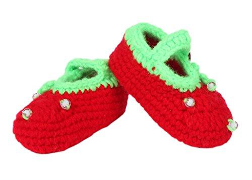 Smile YKK 1 Paar One Size 11cm Baby Unisex süße Strick Strickschuh klein Schuh ohne Deko Grün Erdbeerstaude Rot