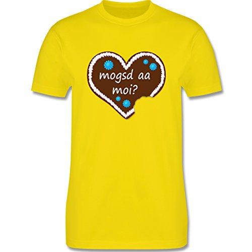 Oktoberfest Herren - Lebkuchenherz mogsd a moi zum anbeißen - Herren Premium T-Shirt Lemon Gelb