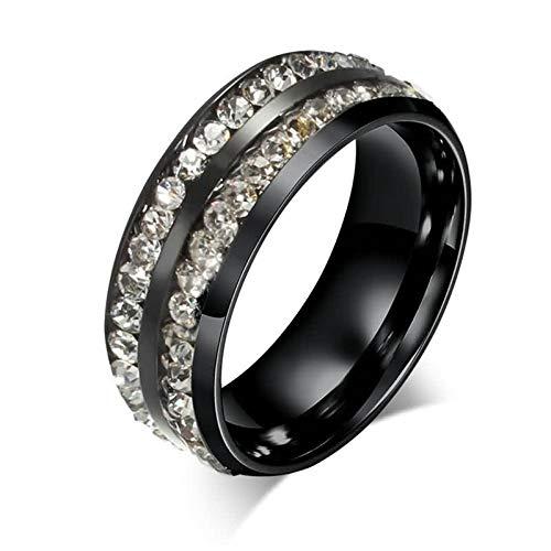 SonMo 925 Silver Ring Unisex Totenkopf Ring Herren Schwarz Doppelte Reihen Ringe mit Stein Silber Schwarz 8Mm Ringe Damen mit Gravur für Paar 60 (19.1)