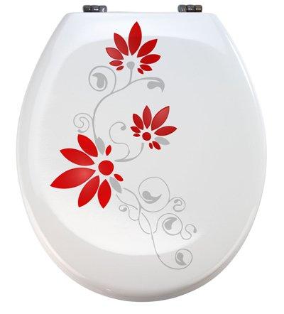 Aufkleber WC Toiletten Deckel St02 für Pressalit silbergrau/rot Vinyl