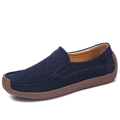 2740cf1b Mujer mocasines de cuero gamuza moda loafers casual zapatos de conducción  zapatillas